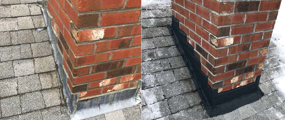 Flashing is the material at the base of the chimney, it is meant to waterproof the juncture where the chimney meets the roof. Faulty flashing can create leaks and water damage to the chimney and/or roof. A professional may recommend a repair or an entire replacement to your flashing. An occasional inspection and maintenance of the flashing can help prevent issues from further escalating.